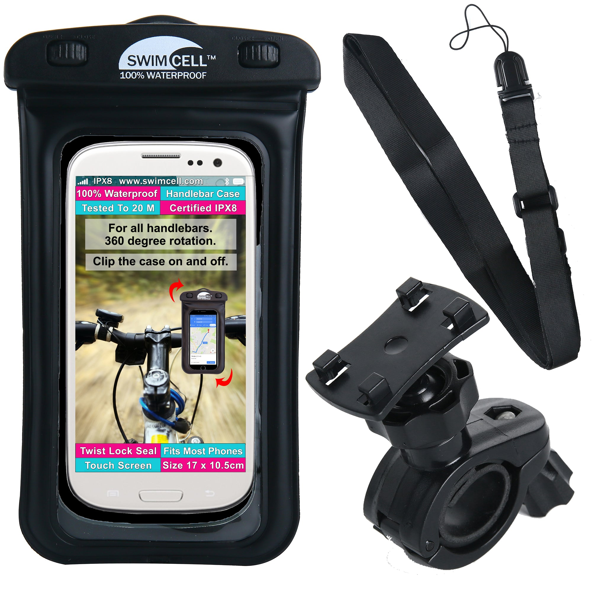 SwimCell Waterproof Phone Case with Handlebar Bike Mount. (10.5cm x 17cm)