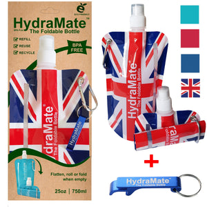 Union Jack Foldable Water Bottle Collapsible UK British