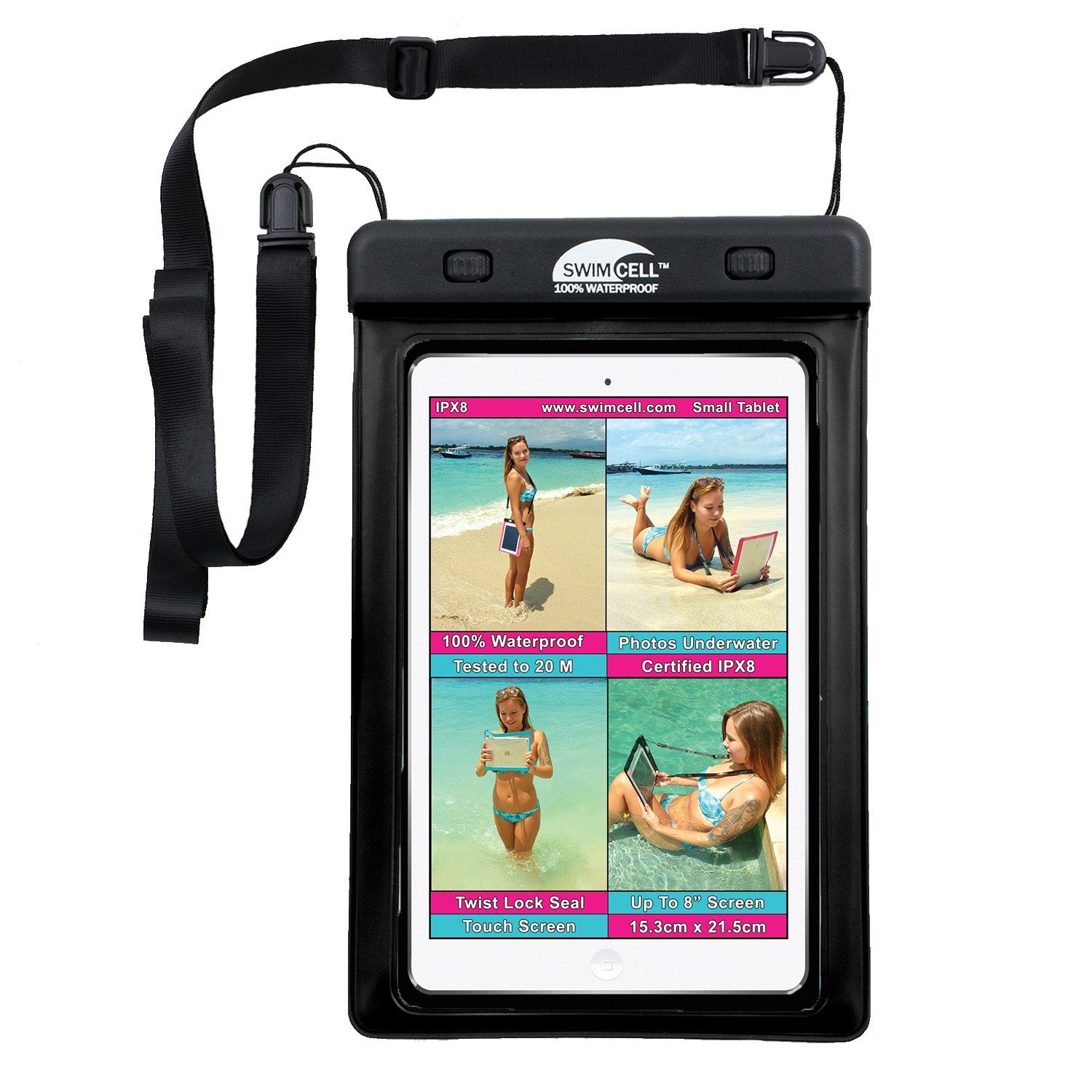 SwimCell 100% Waterproof Tablet Case - Small (up to 15 3 x