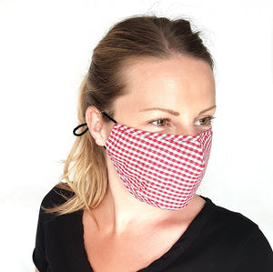Red Gingham Face Mask 3 Layers Cotton Pocket