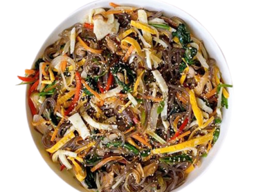 Quick Vegetarian Japchae - Korean Sweet Potato Noodle Stir Fry