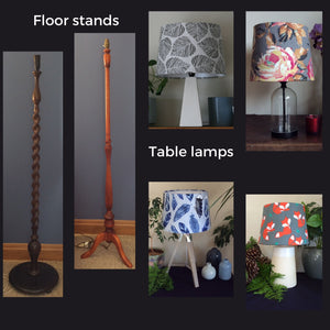 Wooden floor stands and a variety of table lamps, wood, glass and porcelain.including wooden, black, blue and white porcelin.