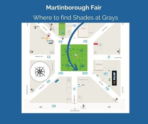 Location map of stalls with arrow showing where Shades at Grays will be.