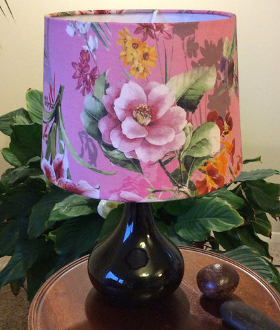 Bold pink lilies fabric on table lamp