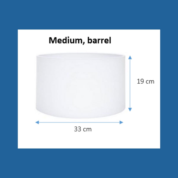 Dimensions of a medium barrel lampshade.