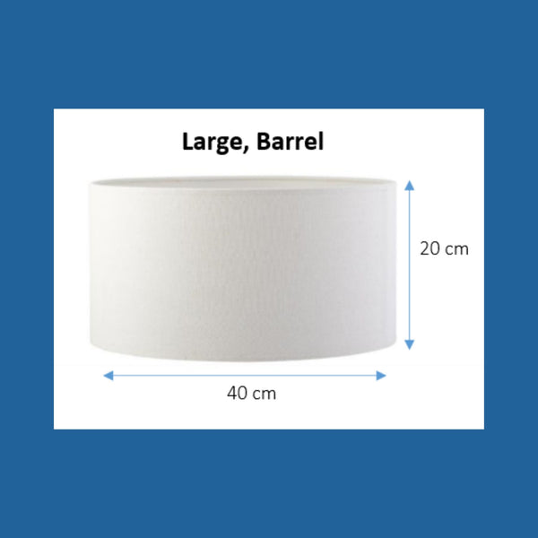 Dimensions of a large barrel lampshade.