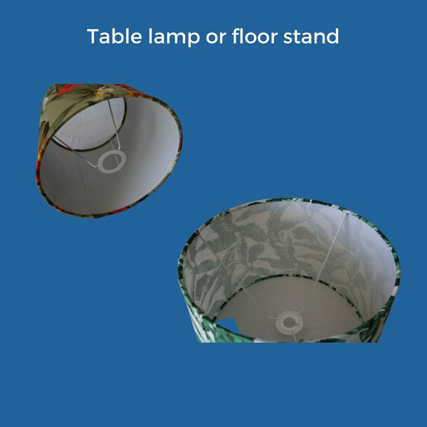 Pictures of two lampshades that are designed for a table lamp or floor stand, with the ring at the bottom of the shade.