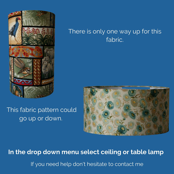 Cottage garden fabric lampshade