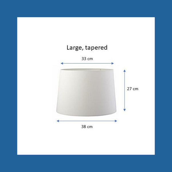 Dimensions of a larged tapered lampshade.
