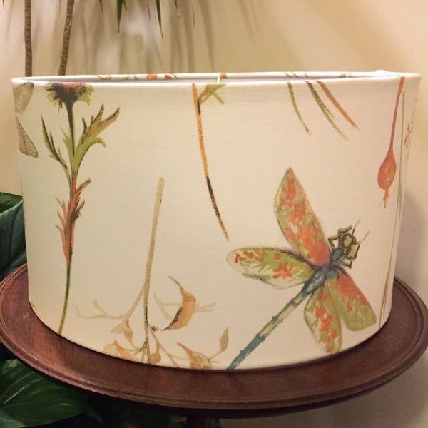 Dragonfly pink-cream fabric lampshade