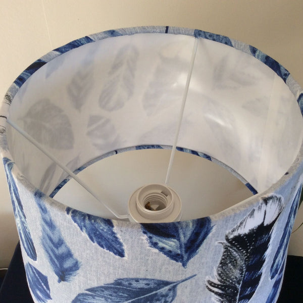 Blue feathers medium tapered lampshade interior close up