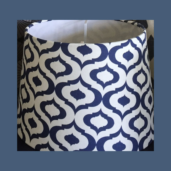 Crisp navy blue latern shapes on a bright white baackground.