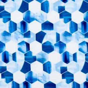 Hexagon pattern in blues and white.