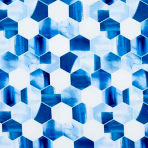 A variety of blues and white hexagons on cotton fabric.
