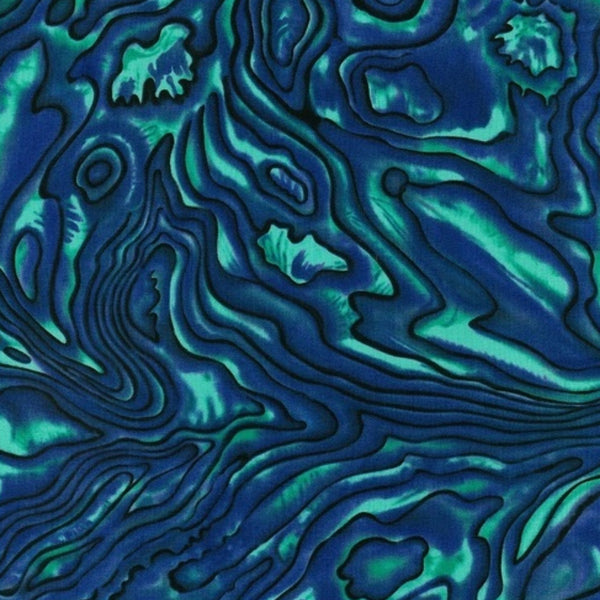 Blue paua fabric, turqoise and blue in swirl pattern.