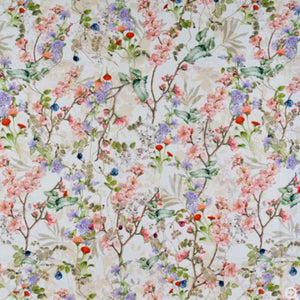 Pink cherry blossom and purple geraniums star in this cottage garden fabric, with a cream background.