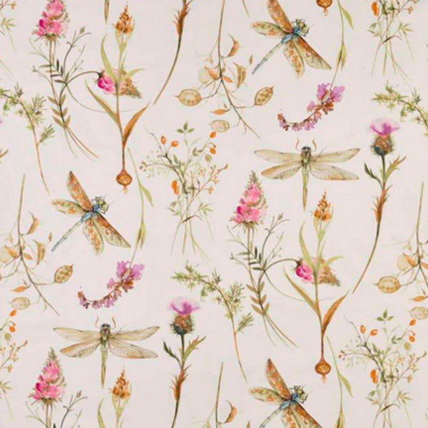 Dragonflies hover among pink and orange flowers on a cream background