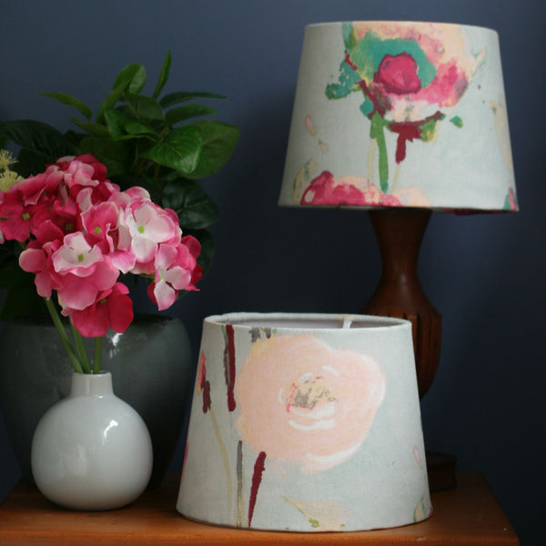 Peonies on grey-blue fabric lampshade