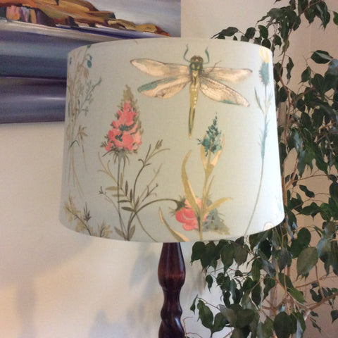 Dragonfly blue fabric lampshade