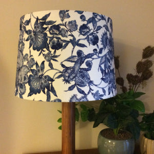 Jacobean blue fabric lampshade