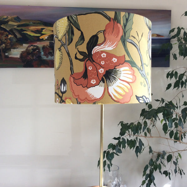 Mustard floral lampshade