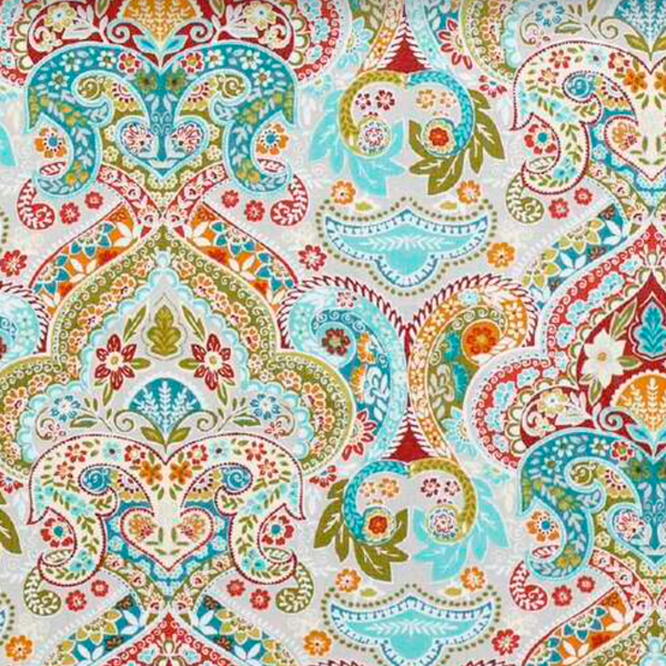 Light blues and greens dominate this paisley fabric.