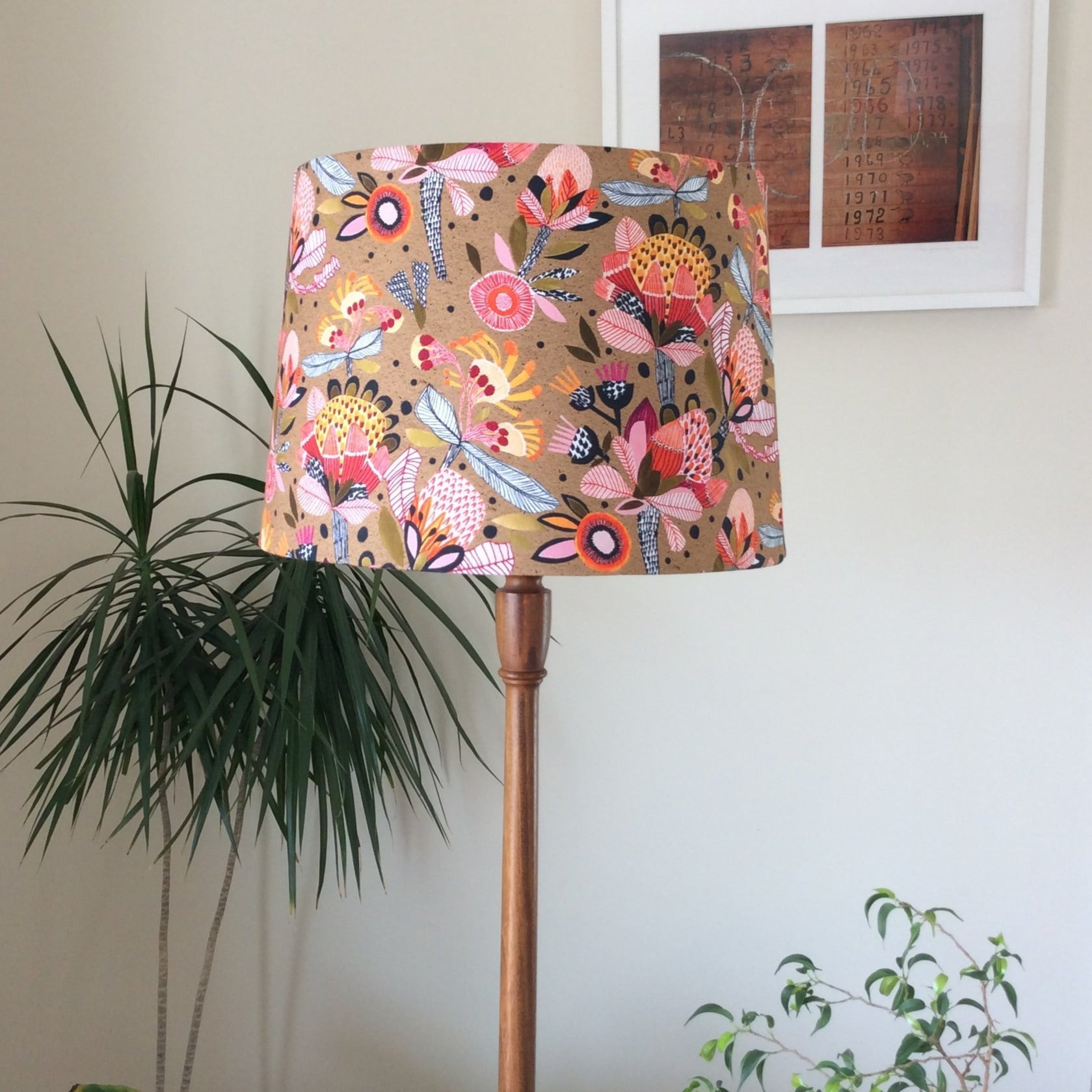 Protea pop fabric on a large tapered light shade