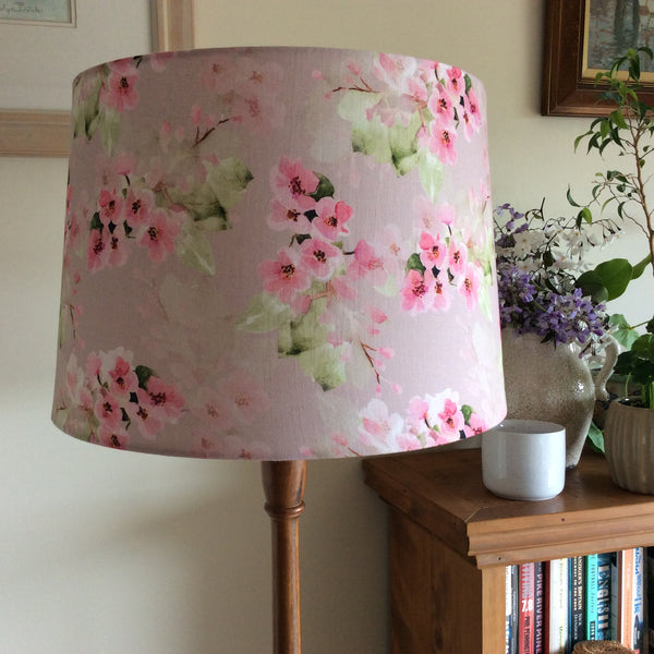 Cherry blossom fabric on large tapered light shade