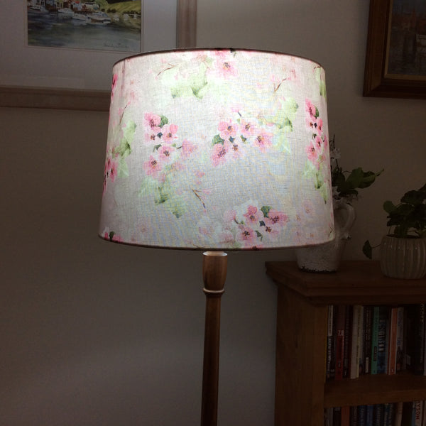 Cherry blossom fabric on lit light shade