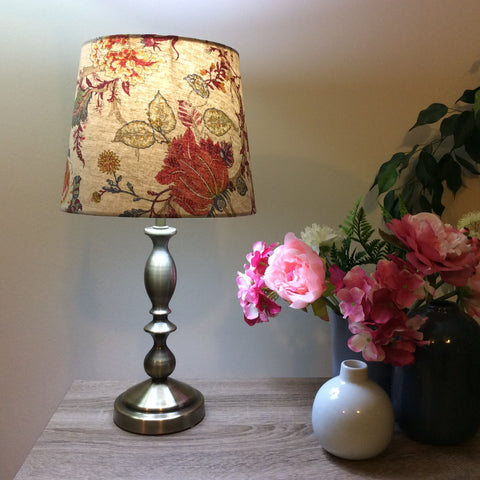 Brass table lamp with oriental floral fabric