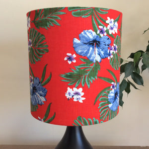Monstera on red lampshade
