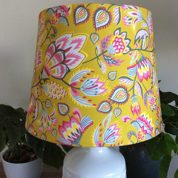 Ceramic table lamp with folk floral mustard fabric