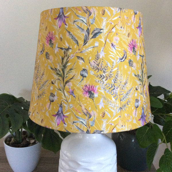Ceramic table lamp with fern and thistle mustard fabric