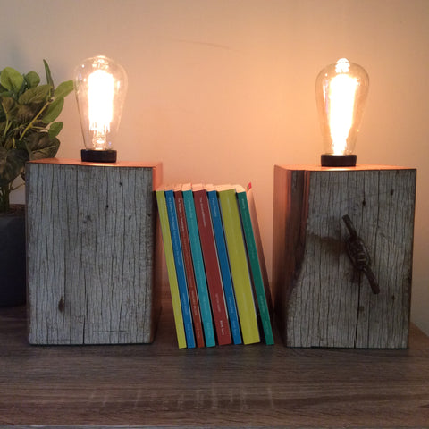 Edison Lamp - Book Ends Pair Reclaimed Fence Post Series #2