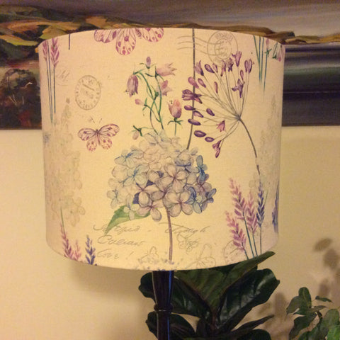 Lilac and hydrangeas lampshade