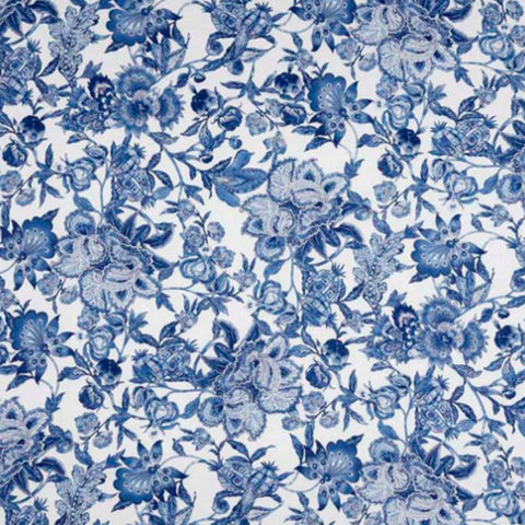 Soft blues in a timeless floral pattern on a white background.