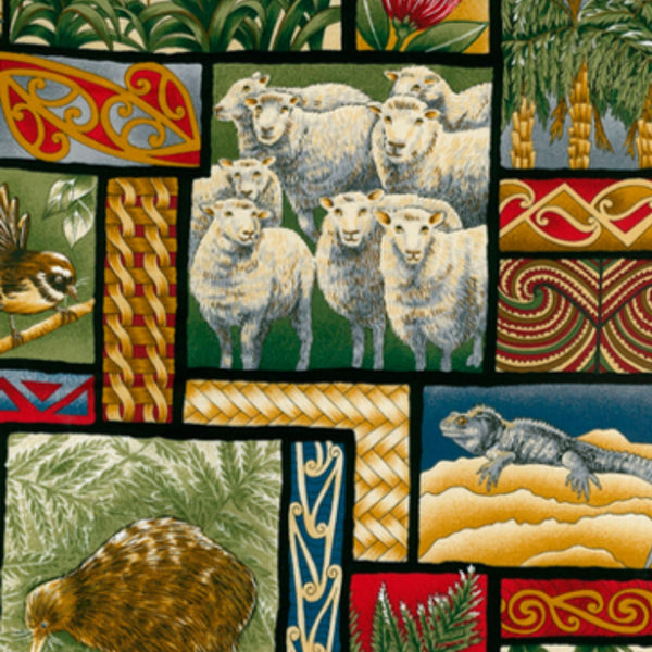 Sheep, kiwi, fantails, tuatara and more showcased on this fabric of New Zealand treasures.