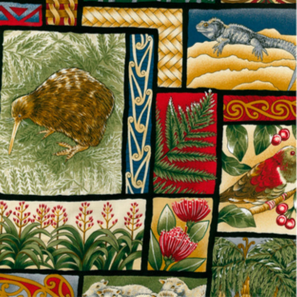 New Zealand plants and a brown kiwi showcased on second view of kiwiana nature fabric.