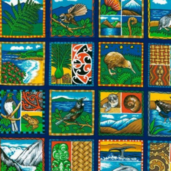 A range of New Zealand scenes including māori designs, birds, mountains, ocean life and beaches.