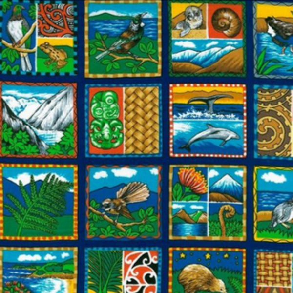 A range of New Zealand scenes including māori designs, birds, mountains, ocean life and beaches. Second view