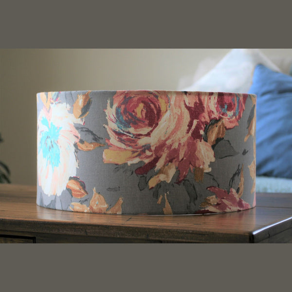 Flowers on grey fabric lampshade