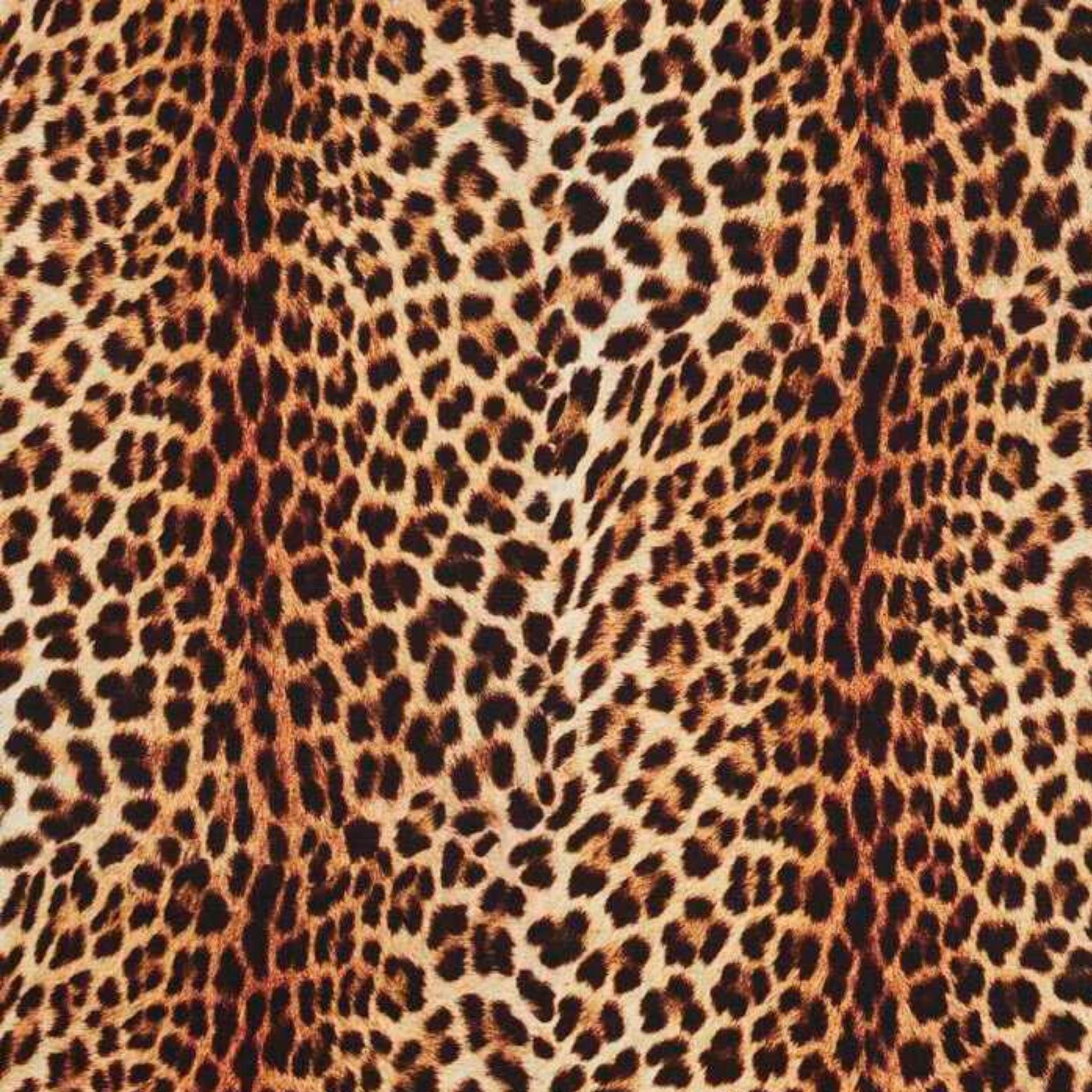 Leopard print, drak brown spots on a light brown background.