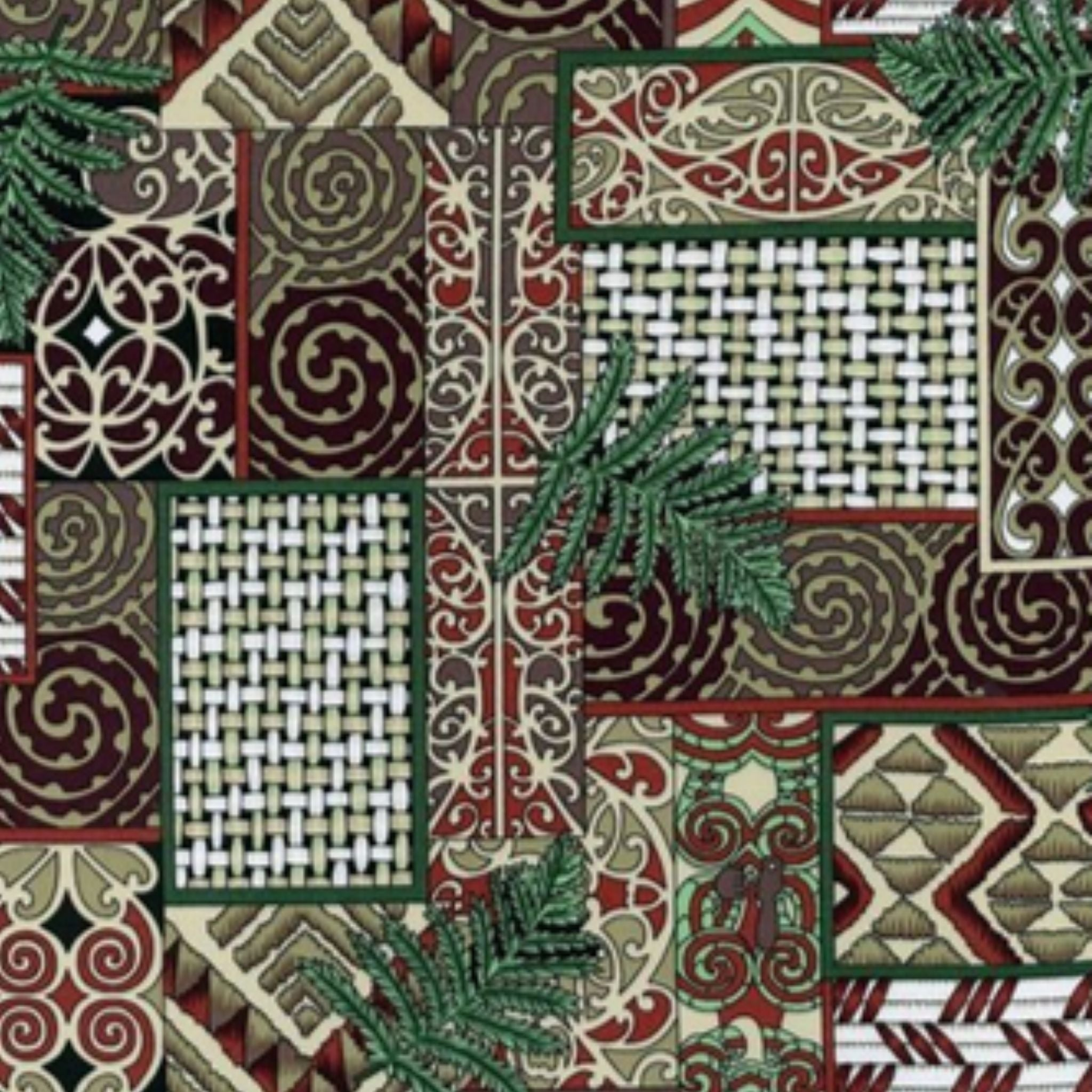 Māori traditional designs and patterns in a variety of browns and muted reds, with fern leaves.
