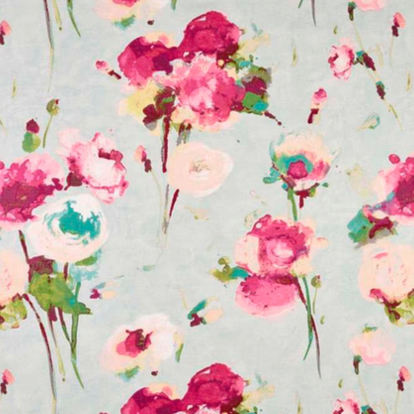 Beautiful pinks, reds and cream peonies on a light blue-grey background.