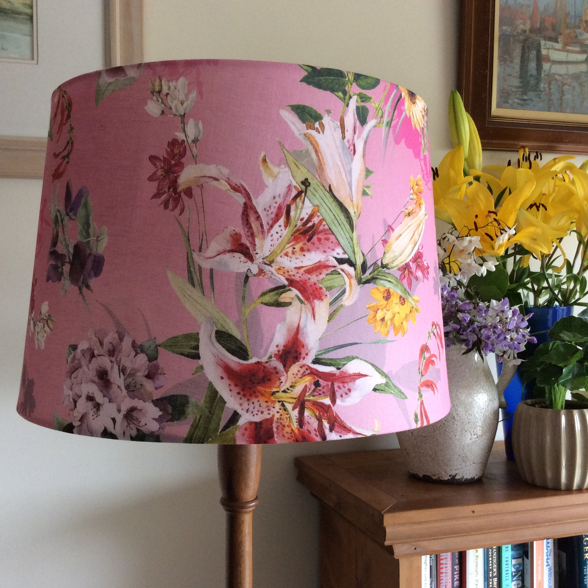 Pink lilies fabric on large tapered light shade