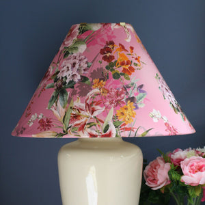 Pink lilies large table lamp