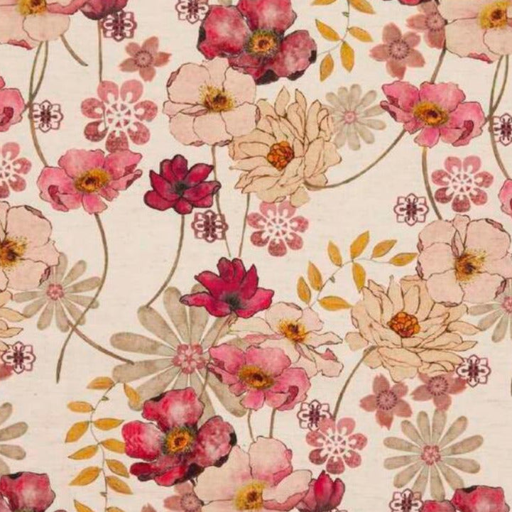 Poppies in shades of red, pink and cream on a pink flush background