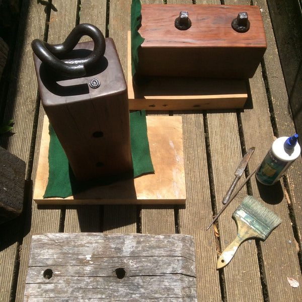 Tools of the trade and various blocks at different stages of completion.