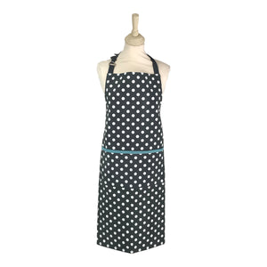 Dexam Polka Apron - Slate Grey with Blue Trim