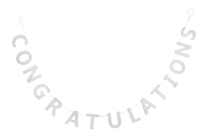 """Congratulations"" White Wooden Bunting"